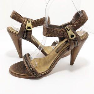 Marc Jacobs Zipper Ankle Strap Copper Heels SZ 39